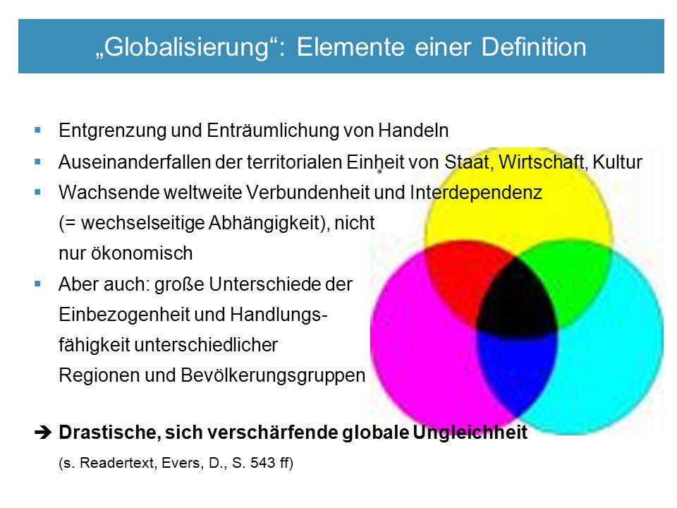  Entgrenzung und Enträumlichung von Handeln  Auseinanderfallen der territorialen Einheit von Staat, Wirtschaft, Kultur  Wachsende weltweite Verbundenheit und Interdependenz (= wechselseitige Abhängigkeit), nicht nur ökonomisch  Aber auch: große Unterschiede der Einbezogenheit und Handlungs- fähigkeit unterschiedlicher Regionen und Bevölkerungsgruppen  Drastische, sich verschärfende globale Ungleichheit (s.