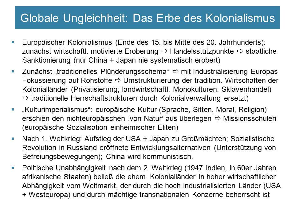 Globale Ungleichheit: Das Erbe des Kolonialismus  Europäischer Kolonialismus (Ende des 15. bis Mitte des 20. Jahrhunderts): zunächst wirtschaftl. mot
