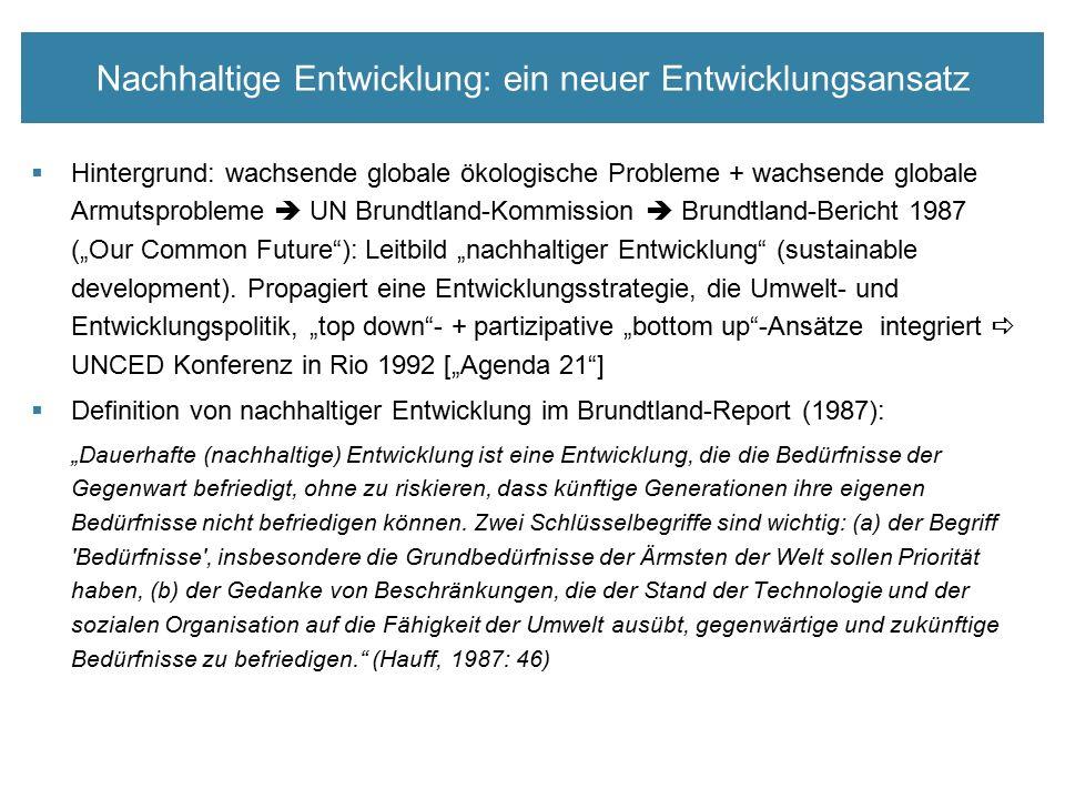 """Nachhaltige Entwicklung: ein neuer Entwicklungsansatz  Hintergrund: wachsende globale ökologische Probleme + wachsende globale Armutsprobleme  UN Brundtland-Kommission  Brundtland-Bericht 1987 (""""Our Common Future ): Leitbild """"nachhaltiger Entwicklung (sustainable development)."""