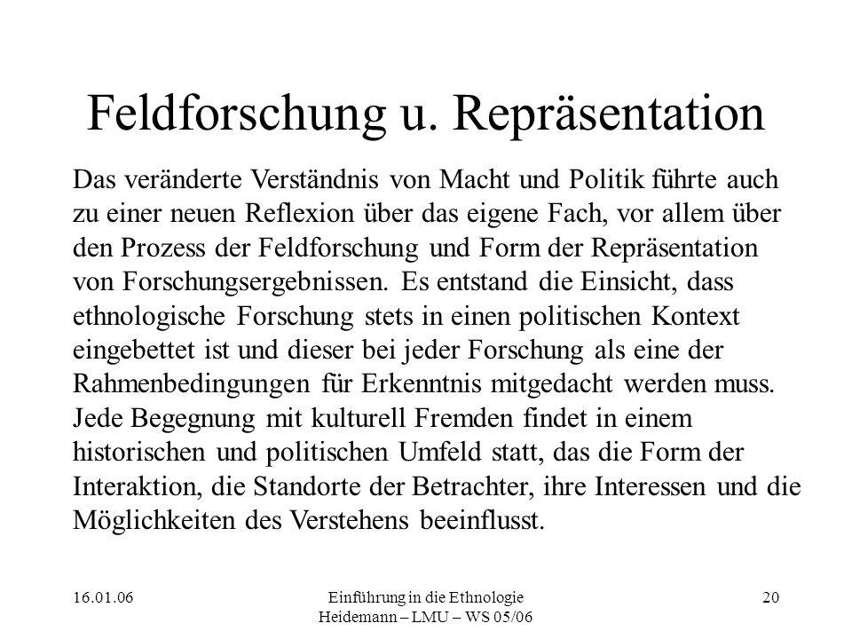 16.01.06Einführung in die Ethnologie Heidemann – LMU – WS 05/06 20 Feldforschung u.