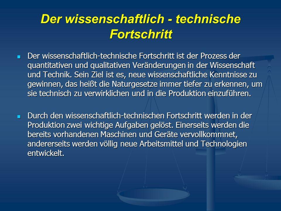 Derwissenschaftlich - technische Fortschritt Der wissenschaftlich - technische Fortschritt Der wissenschaftlich-technische Fortschritt ist der Prozess der quantitativen und qualitativen Veränderungen in der Wissenschaft und Technik.