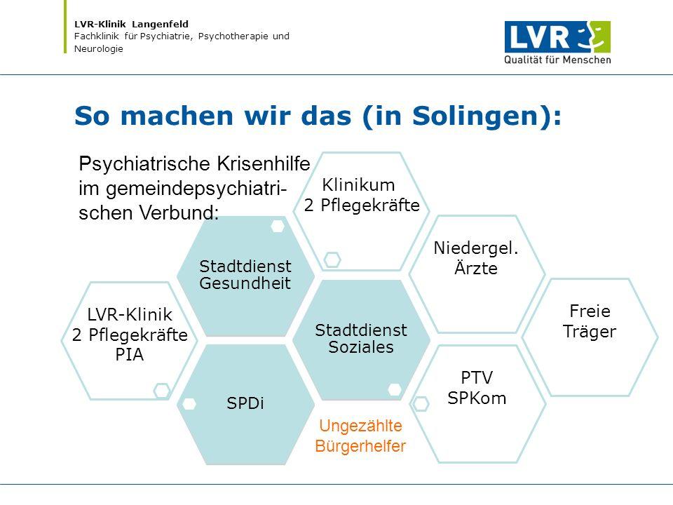 LVR-Klinik Langenfeld Fachklinik für Psychiatrie, Psychotherapie und Neurologie So machen wir das (in Solingen): SPDi LVR-Klinik 2 Pflegekräfte PIA St