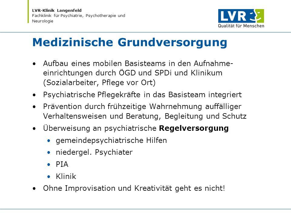 LVR-Klinik Langenfeld Fachklinik für Psychiatrie, Psychotherapie und Neurologie Medizinische Grundversorgung Aufbau eines mobilen Basisteams in den Au