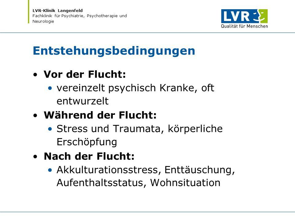 LVR-Klinik Langenfeld Fachklinik für Psychiatrie, Psychotherapie und Neurologie Entstehungsbedingungen Vor der Flucht: vereinzelt psychisch Kranke, of