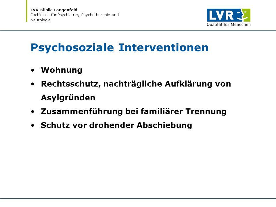LVR-Klinik Langenfeld Fachklinik für Psychiatrie, Psychotherapie und Neurologie Psychosoziale Interventionen Wohnung Rechtsschutz, nachträgliche Aufkl
