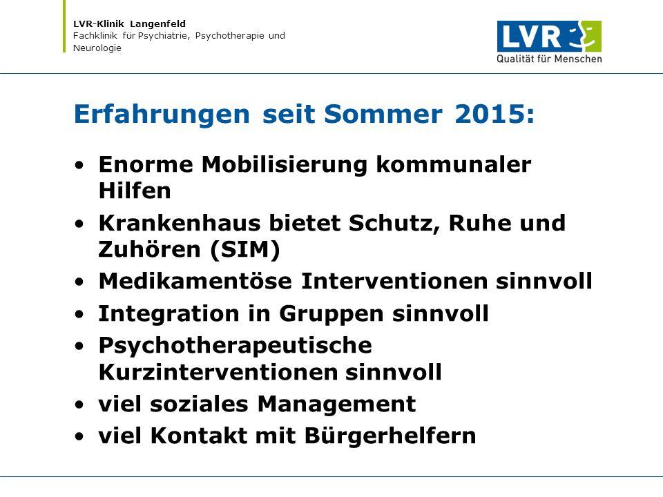 LVR-Klinik Langenfeld Fachklinik für Psychiatrie, Psychotherapie und Neurologie Erfahrungen seit Sommer 2015: Enorme Mobilisierung kommunaler Hilfen K