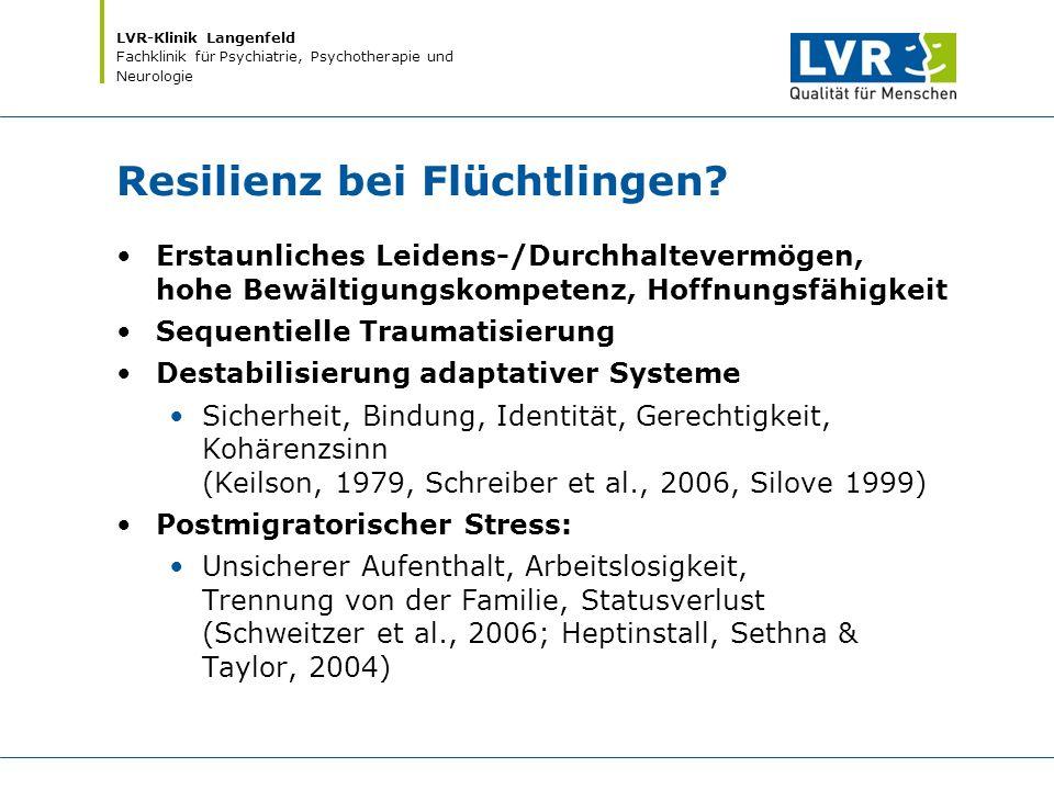 LVR-Klinik Langenfeld Fachklinik für Psychiatrie, Psychotherapie und Neurologie Resilienz bei Flüchtlingen? Erstaunliches Leidens-/Durchhaltevermögen,