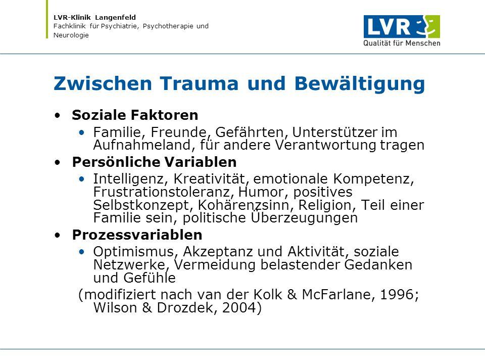 LVR-Klinik Langenfeld Fachklinik für Psychiatrie, Psychotherapie und Neurologie Zwischen Trauma und Bewältigung Soziale Faktoren Familie, Freunde, Gef