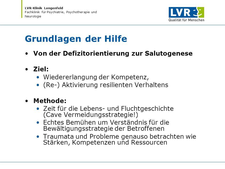 LVR-Klinik Langenfeld Fachklinik für Psychiatrie, Psychotherapie und Neurologie Grundlagen der Hilfe Von der Defizitorientierung zur Salutogenese Ziel