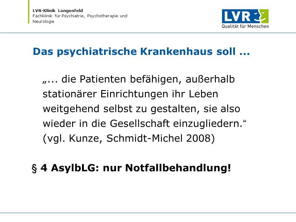 """LVR-Klinik Langenfeld Fachklinik für Psychiatrie, Psychotherapie und Neurologie Das psychiatrische Krankenhaus soll... """"... die Patienten befähigen, a"""