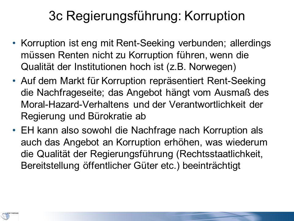 3c Regierungsführung: Korruption Korruption ist eng mit Rent-Seeking verbunden; allerdings müssen Renten nicht zu Korruption führen, wenn die Qualität der Institutionen hoch ist (z.B.