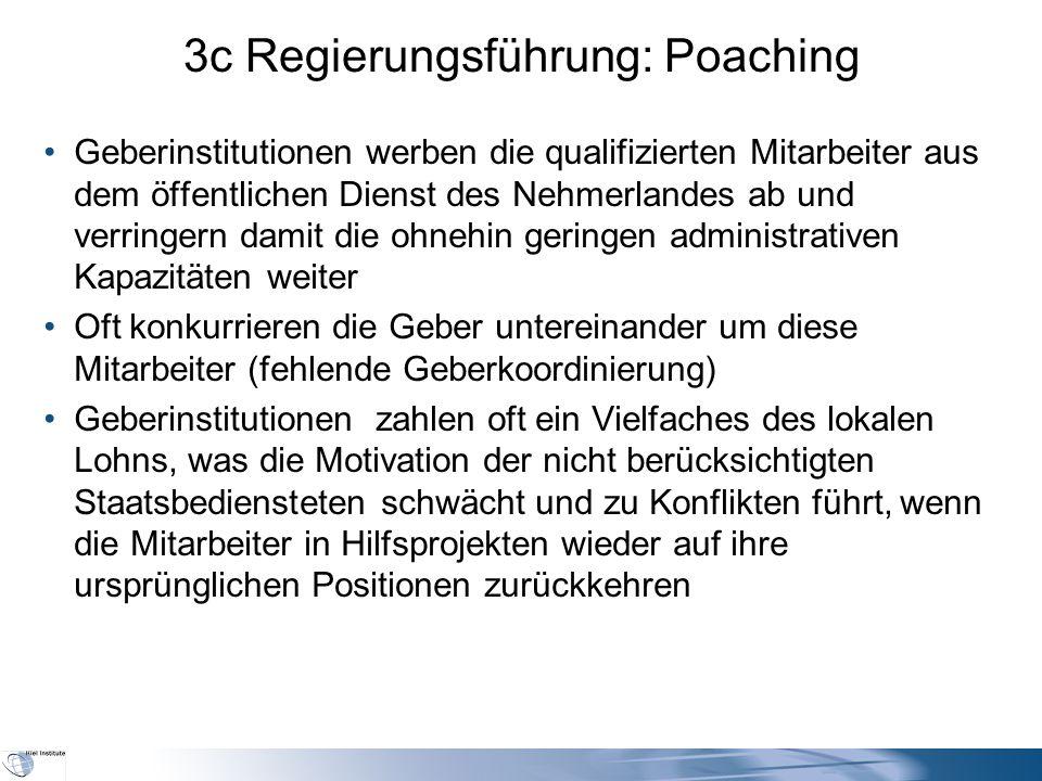 3c Regierungsführung: Poaching Geberinstitutionen werben die qualifizierten Mitarbeiter aus dem öffentlichen Dienst des Nehmerlandes ab und verringern