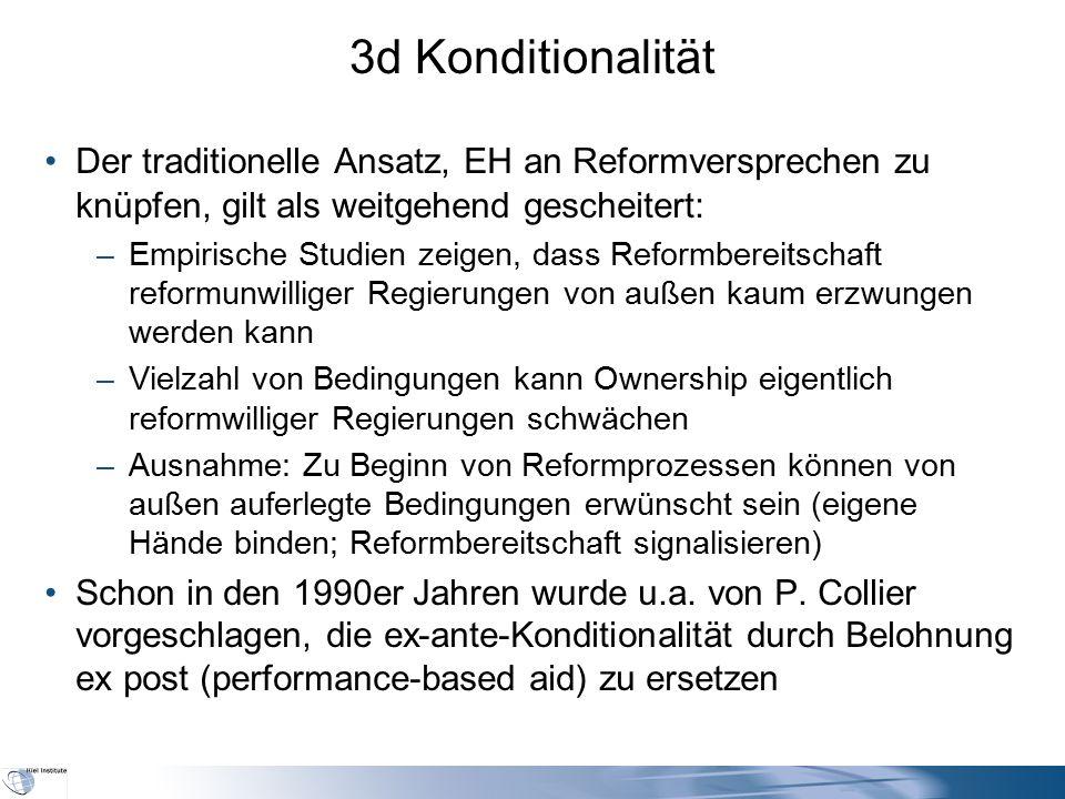 3d Konditionalität Der traditionelle Ansatz, EH an Reformversprechen zu knüpfen, gilt als weitgehend gescheitert: –Empirische Studien zeigen, dass Ref