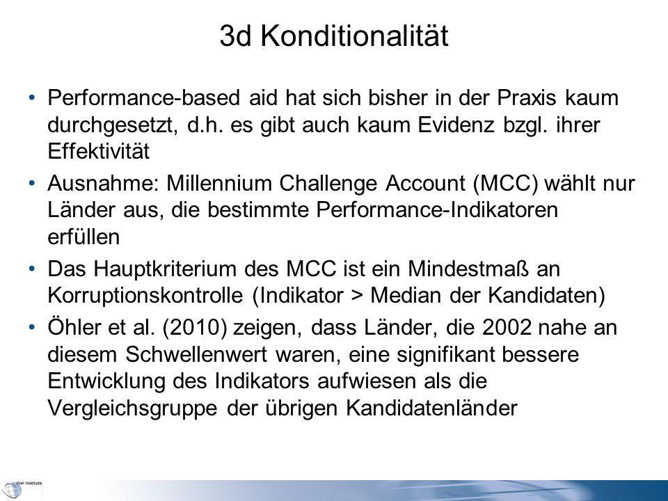 3d Konditionalität Performance-based aid hat sich bisher in der Praxis kaum durchgesetzt, d.h.