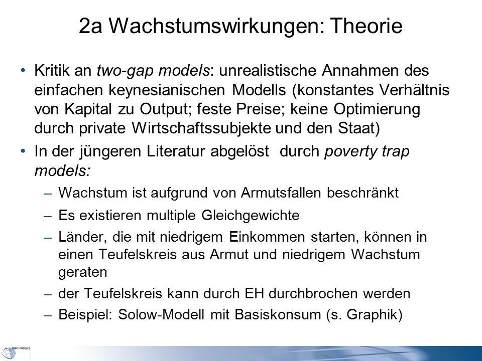 2a Wachstumswirkungen: Theorie Kritik an two-gap models: unrealistische Annahmen des einfachen keynesianischen Modells (konstantes Verhältnis von Kapi