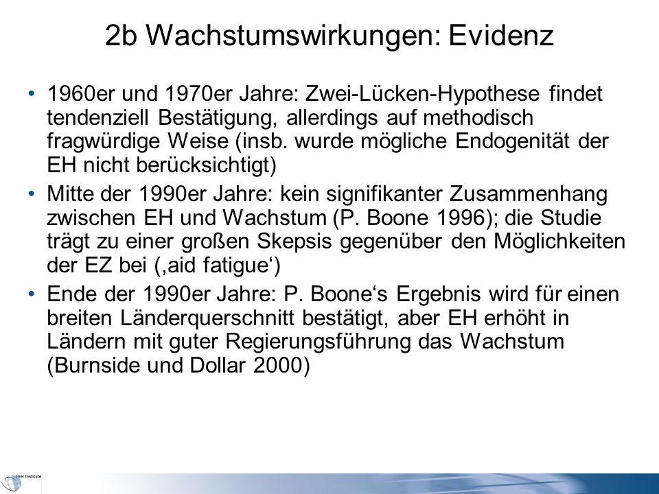 2b Wachstumswirkungen: Evidenz 1960er und 1970er Jahre: Zwei-Lücken-Hypothese findet tendenziell Bestätigung, allerdings auf methodisch fragwürdige We