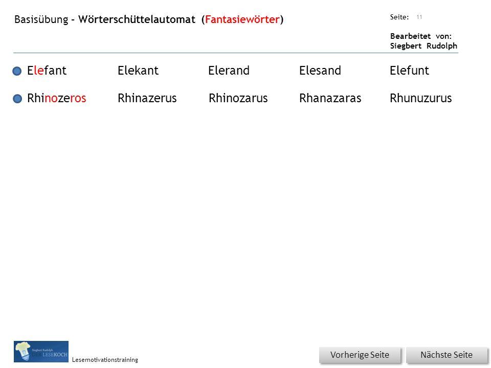Übungsart: Seite: Bearbeitet von: Siegbert Rudolph Lesemotivationstraining Basisübung – Wörterschüttelautomat (Fantasiewörter) 11 ElefantElekantEleran