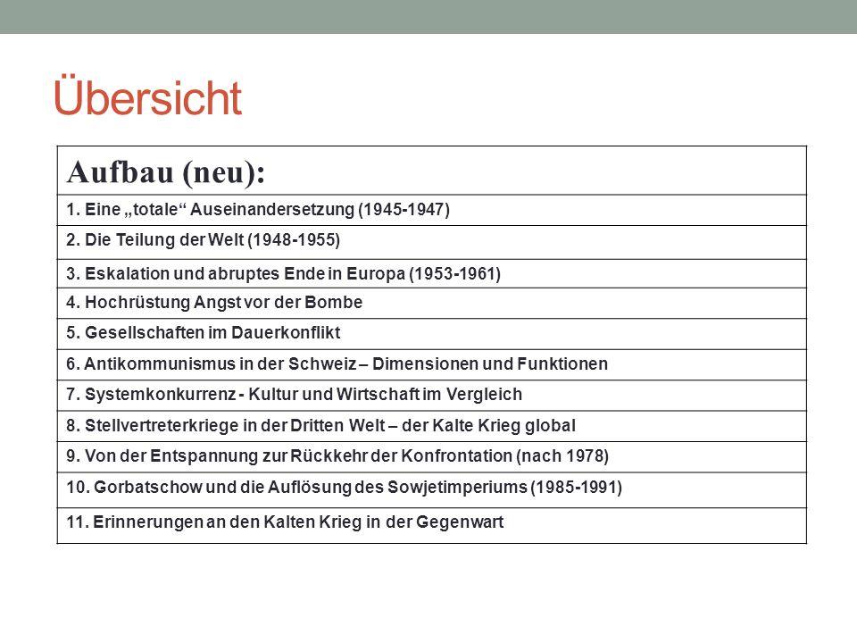 """Übersicht Aufbau (neu): 1. Eine """"totale"""" Auseinandersetzung (1945-1947) 2. Die Teilung der Welt (1948-1955) 3. Eskalation und abruptes Ende in Europa"""