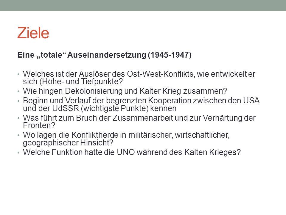 """Ziele Eine """"totale Auseinandersetzung (1945-1947) Welches ist der Auslöser des Ost-West-Konflikts, wie entwickelt er sich (Höhe- und Tiefpunkte."""