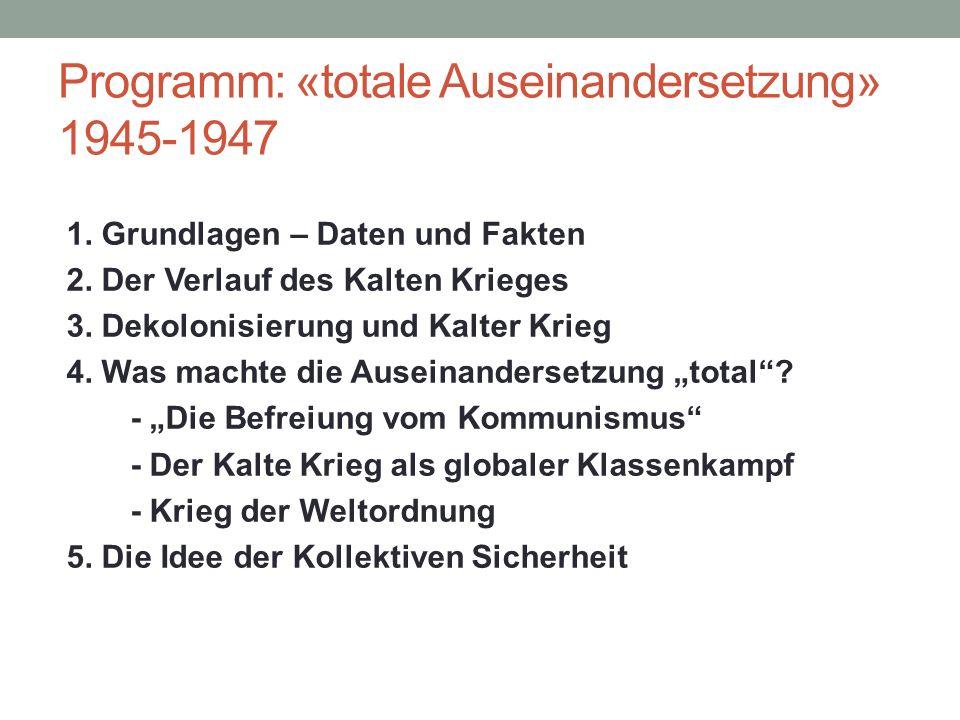 Programm: «totale Auseinandersetzung» 1945-1947 1. Grundlagen – Daten und Fakten 2. Der Verlauf des Kalten Krieges 3. Dekolonisierung und Kalter Krieg