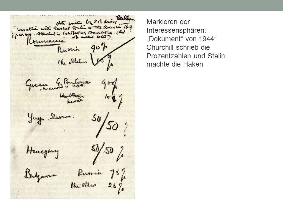 """Markieren der Interessensphären: """"Dokument"""" von 1944: Churchill schrieb die Prozentzahlen und Stalin machte die Haken"""