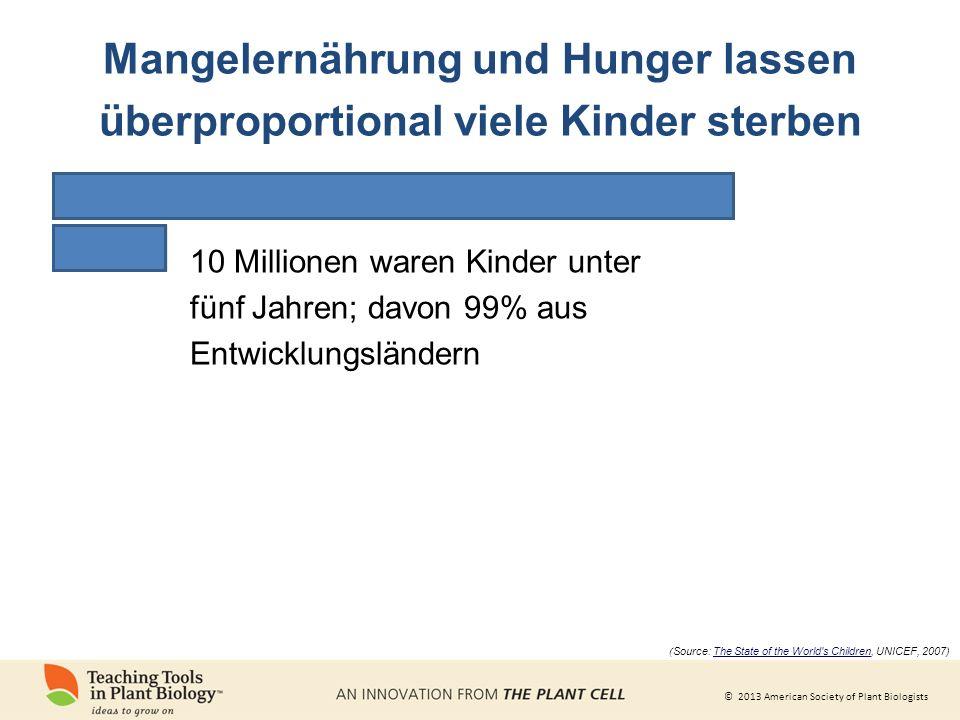 © 2013 American Society of Plant Biologists 10 Millionen waren Kinder unter fünf Jahren; davon 99% aus Entwicklungsländern ( Source: The State of the World s Children, UNICEF, 2007) Mangelernährung und Hunger lassen überproportional viele Kinder sterben
