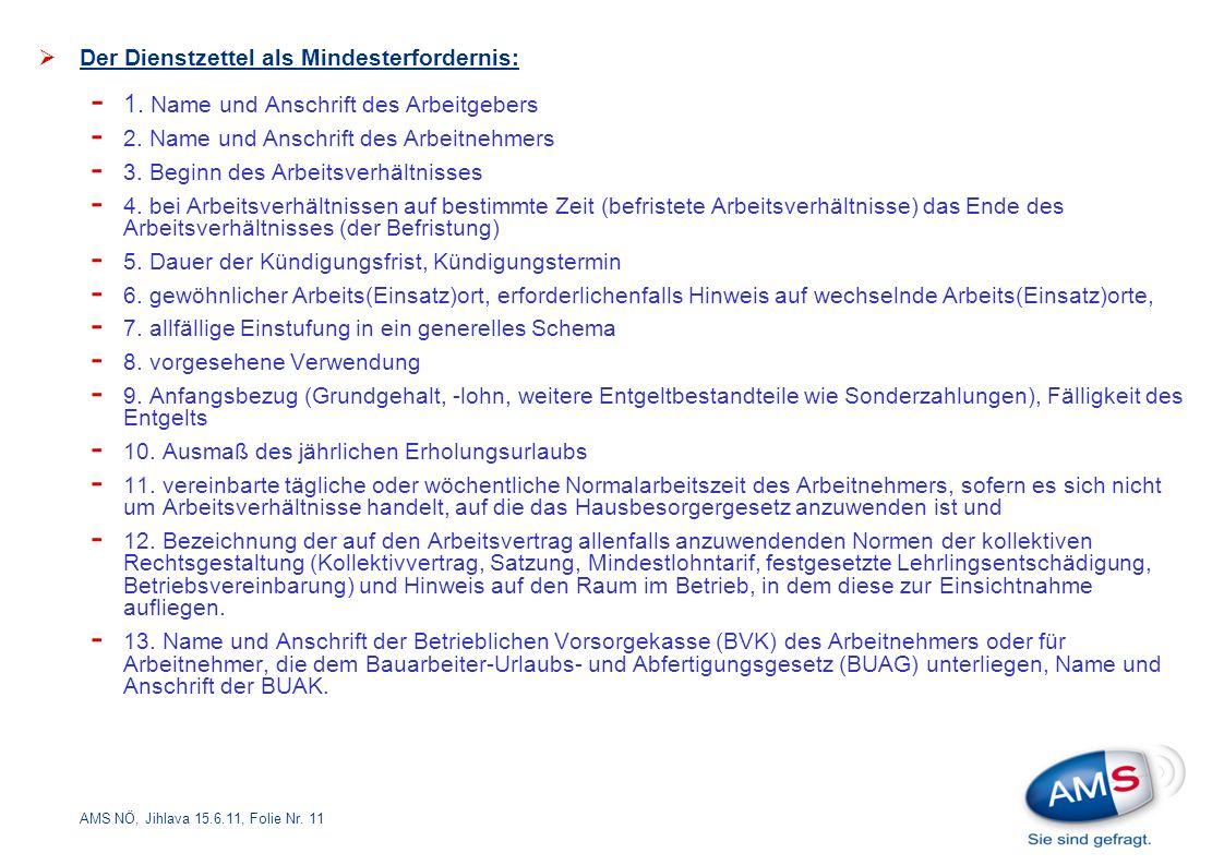 AMS NÖ, Jihlava 15.6.11, Folie Nr. 11  Der Dienstzettel als Mindesterfordernis: - 1.