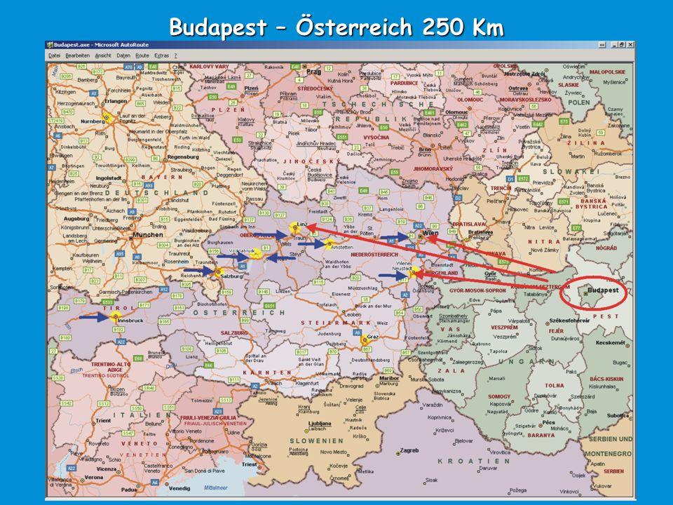 Budapest – Österreich 250 Km