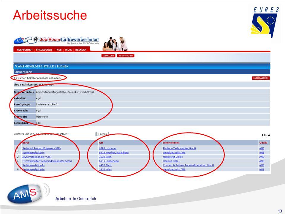 13 Arbeiten in Österreich Arbeitssuche