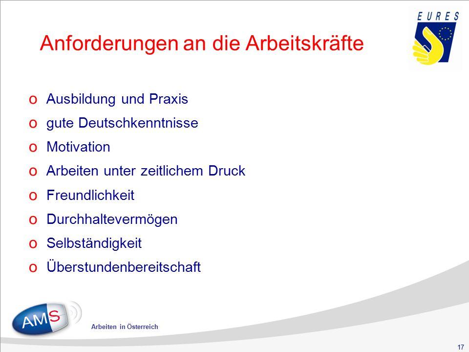 17 Arbeiten in Österreich Anforderungen an die Arbeitskräfte o Ausbildung und Praxis o gute Deutschkenntnisse o Motivation o Arbeiten unter zeitlichem