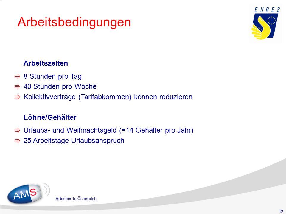19 Arbeiten in Österreich Arbeitsbedingungen Arbeitszeiten ⇛ 8 Stunden pro Tag ⇛ 40 Stunden pro Woche ⇛ Kollektivverträge (Tarifabkommen) können reduz