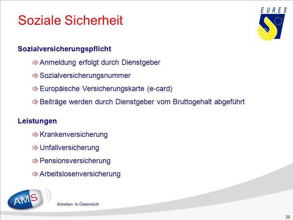 20 Arbeiten in Österreich Soziale Sicherheit Sozialversicherungspflicht ⇛ Anmeldung erfolgt durch Dienstgeber ⇛ Sozialversicherungsnummer ⇛ Europäisch