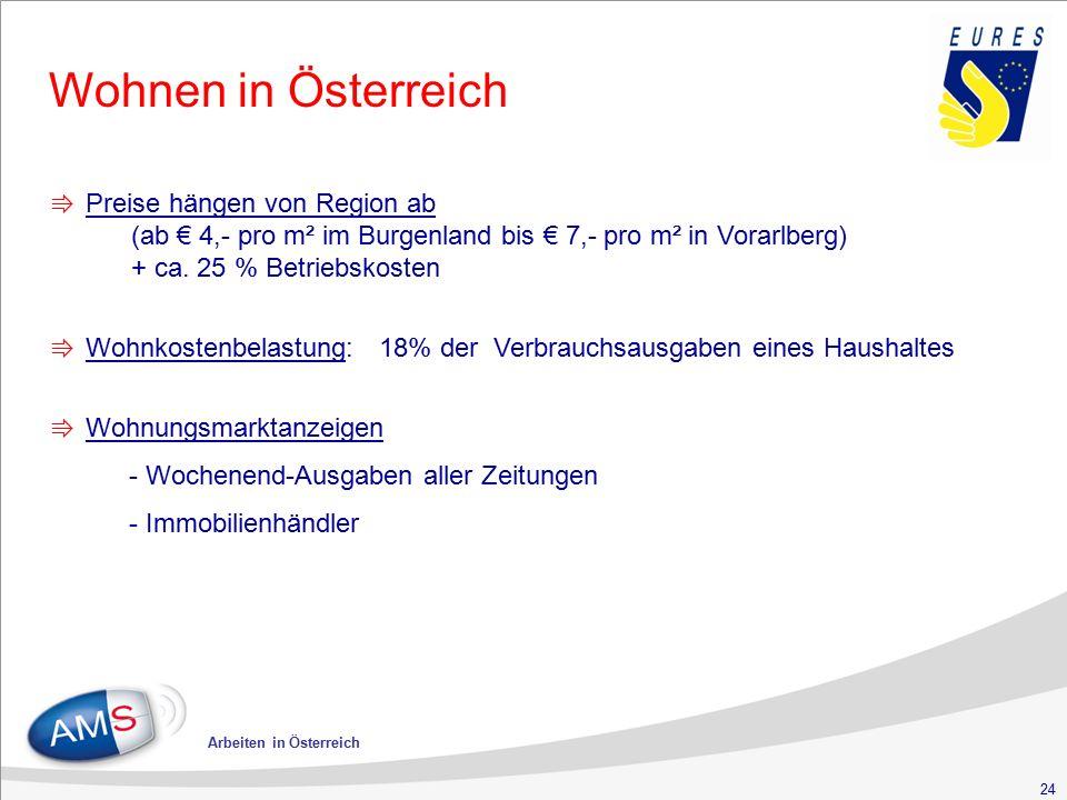 24 Arbeiten in Österreich Wohnen in Österreich ⇛ Preise hängen von Region ab (ab € 4,- pro m² im Burgenland bis € 7,- pro m² in Vorarlberg) + ca. 25 %