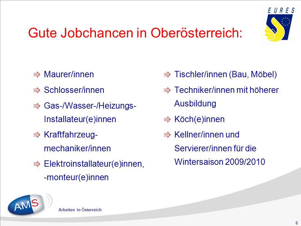 6 Arbeiten in Österreich Gute Jobchancen in Oberösterreich: ⇛ Maurer/innen ⇛ Schlosser/innen ⇛ Gas-/Wasser-/Heizungs- Installateur(e)innen ⇛ Kraftfahr