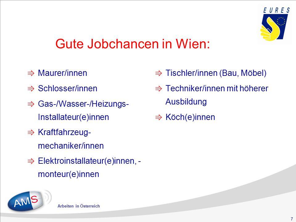 7 Arbeiten in Österreich Gute Jobchancen in Wien: ⇛ Maurer/innen ⇛ Schlosser/innen ⇛ Gas-/Wasser-/Heizungs- Installateur(e)innen ⇛ Kraftfahrzeug- mech