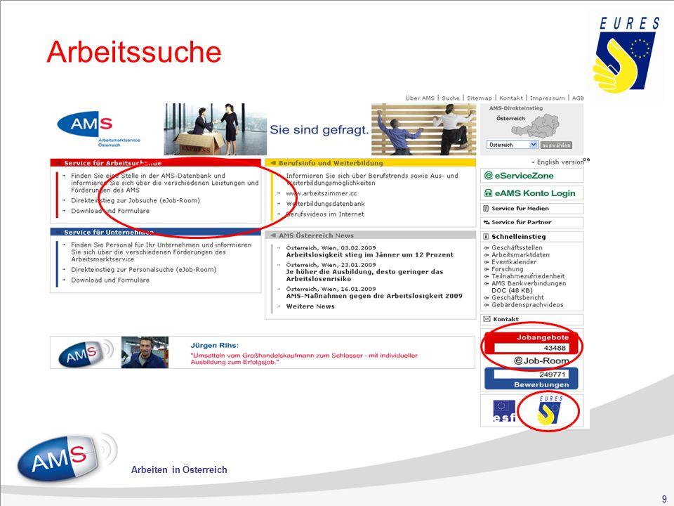 30 Arbeiten in Österreich Haupterwerbsgebiete