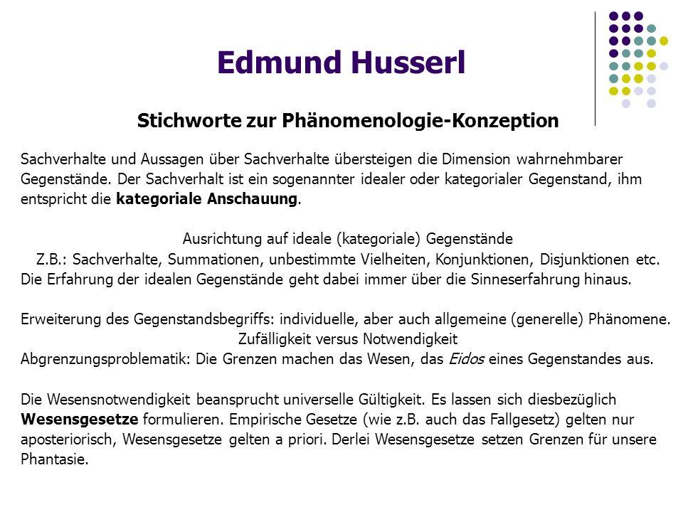 Edmund Husserl Stichworte zur Phänomenologie-Konzeption Sachverhalte und Aussagen über Sachverhalte übersteigen die Dimension wahrnehmbarer Gegenstände.