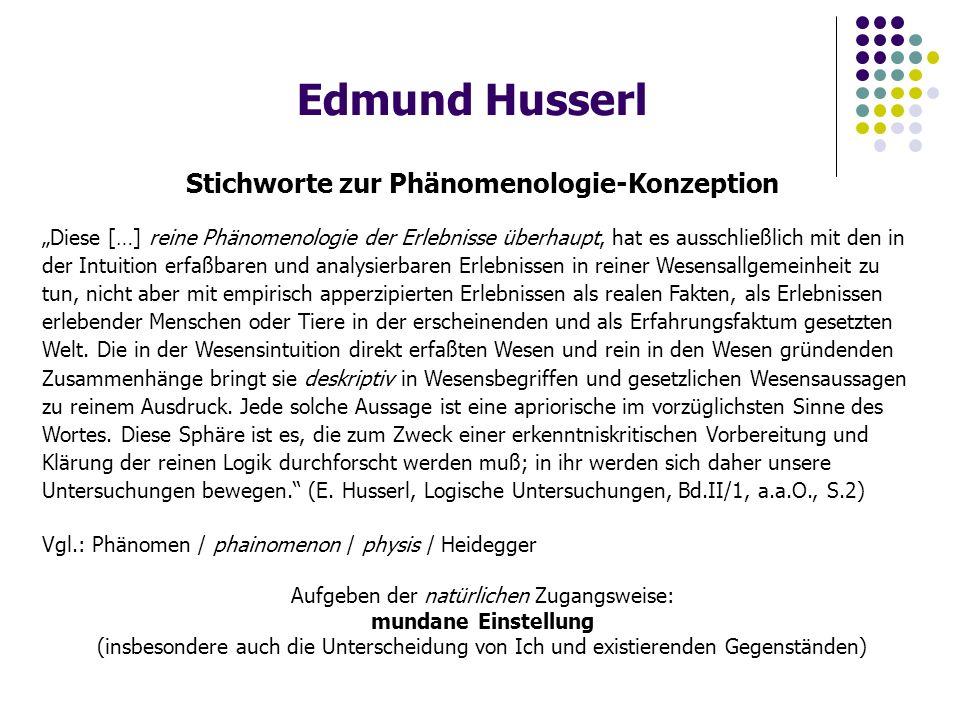 """Edmund Husserl Stichworte zur Phänomenologie-Konzeption """"Diese […] reine Phänomenologie der Erlebnisse überhaupt, hat es ausschließlich mit den in der Intuition erfaßbaren und analysierbaren Erlebnissen in reiner Wesensallgemeinheit zu tun, nicht aber mit empirisch apperzipierten Erlebnissen als realen Fakten, als Erlebnissen erlebender Menschen oder Tiere in der erscheinenden und als Erfahrungsfaktum gesetzten Welt."""