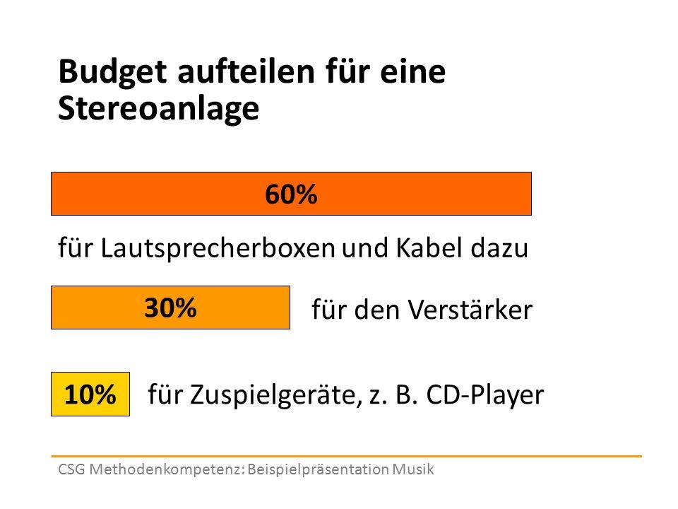Budget aufteilen für eine Stereoanlage 10% 30% 60% für Zuspielgeräte, z. B. CD-Player CSG Methodenkompetenz: Beispielpräsentation Musik für den Verstä