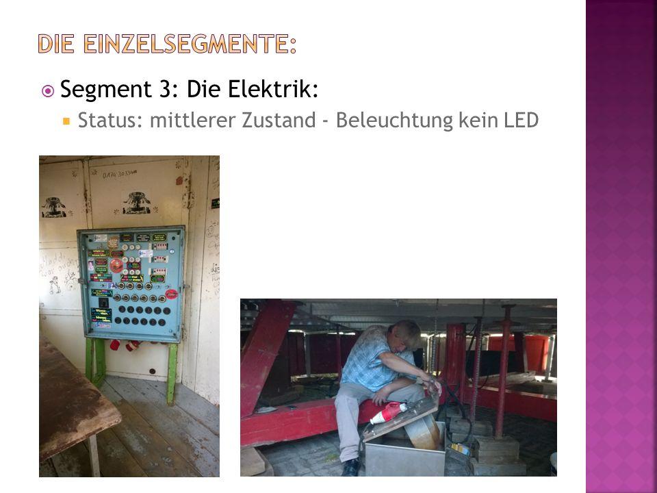  Segment 3: Die Elektrik:  Status: mittlerer Zustand - Beleuchtung kein LED