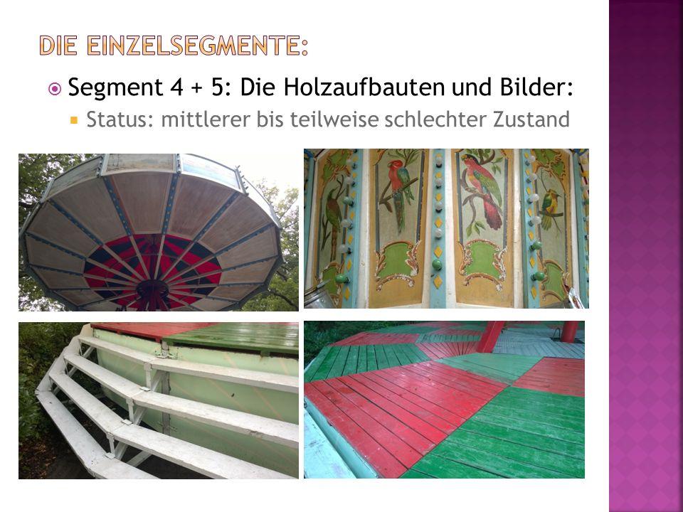  Segment 4 + 5: Die Holzaufbauten und Bilder:  Status: mittlerer bis teilweise schlechter Zustand