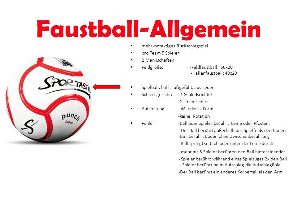 Faustball-Allgemein mehrkontaktiges Rückschlagspiel pro Team 5 Spieler 2 Mannschaften Feldgröße:-Feldfaustball: 50x20 -Hallenfaustball: 40x20 Spielbal