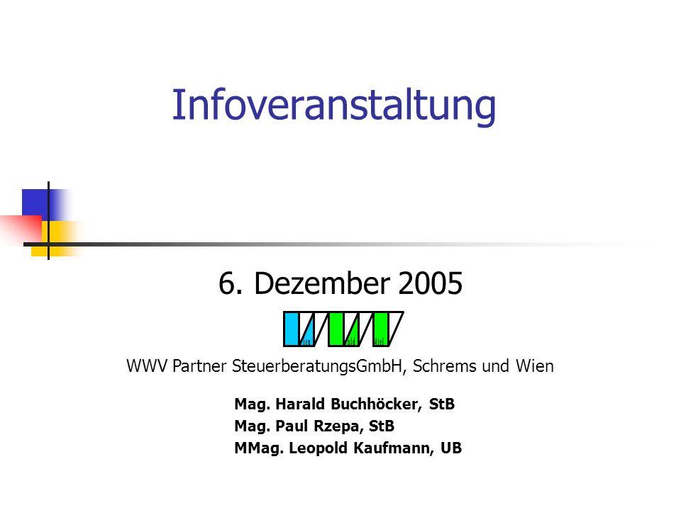 Infoveranstaltung 6.Dezember 2005 Mag. Harald Buchhöcker, StB Mag.