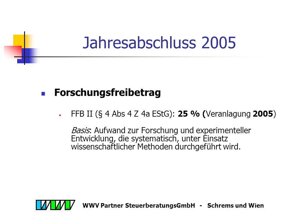 WWV Partner SteuerberatungsGmbH - Schrems und Wien Wachstums- und Beschäftigungsgesetz 2005, 19.8.05 Forschungsfreibetrag bzw. Forschungsprämie auch f
