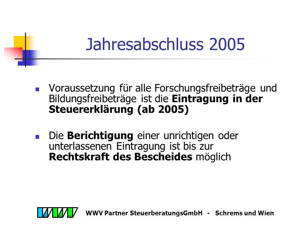WWV Partner SteuerberatungsGmbH - Schrems und Wien Jahresabschluss 2005 Forschungsprämie (§ 108c Abs 2 Z 1 EStG) Alternativ zu FFB II Begünstigte: Steuerpflichtige und Mitunternehmerschaften Einreichung eines Verzeichnisses (Beilage zur ESt- /KöSt- Erklärung); Gutschrift auf Abgabenkonto Höhe:8 % im Jahr 2005