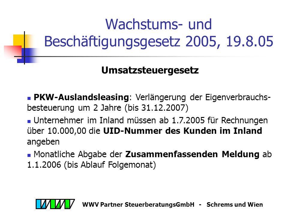 WWV Partner SteuerberatungsGmbH - Schrems und Wien Jahresabschluss 2005 Voraussetzung für alle Forschungsfreibeträge und Bildungsfreibeträge ist die E