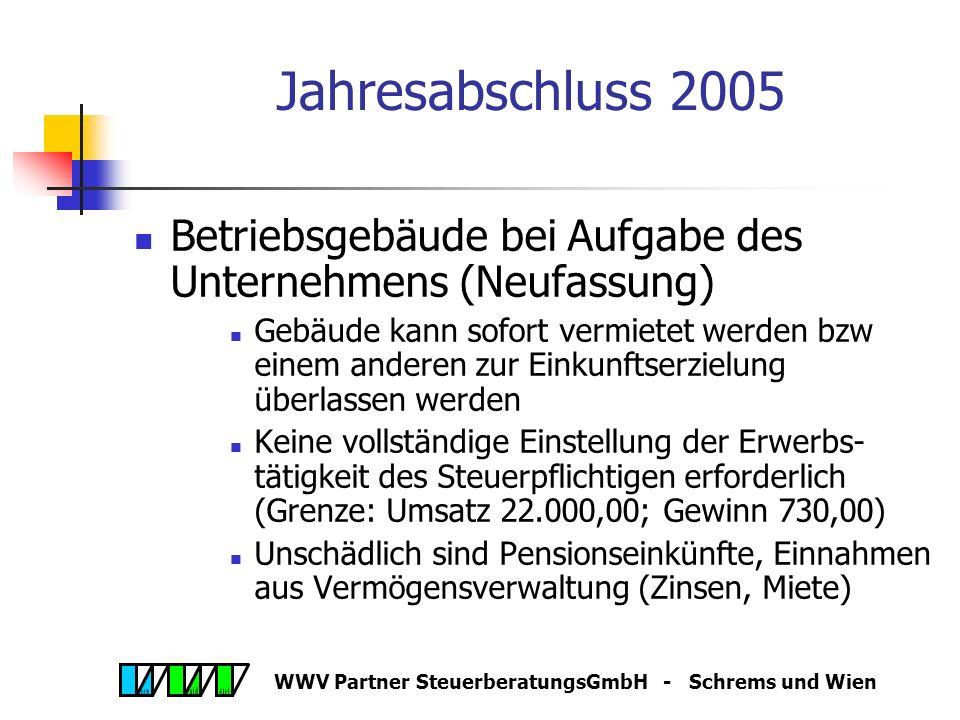 WWV Partner SteuerberatungsGmbH - Schrems und Wien AbgÄG 2005 Ausdehnung der Mindest-KöSt Zur Vermeidung von Umgehungen Ausdehnung der Mindest- Körperschaftsteuer auf unbeschränkt steuerpflichtige ausländische Körperschaften (z.B.: s.r.o., LLC) – vom ausländischen Mindestkapital, mindestens aber vom österr.