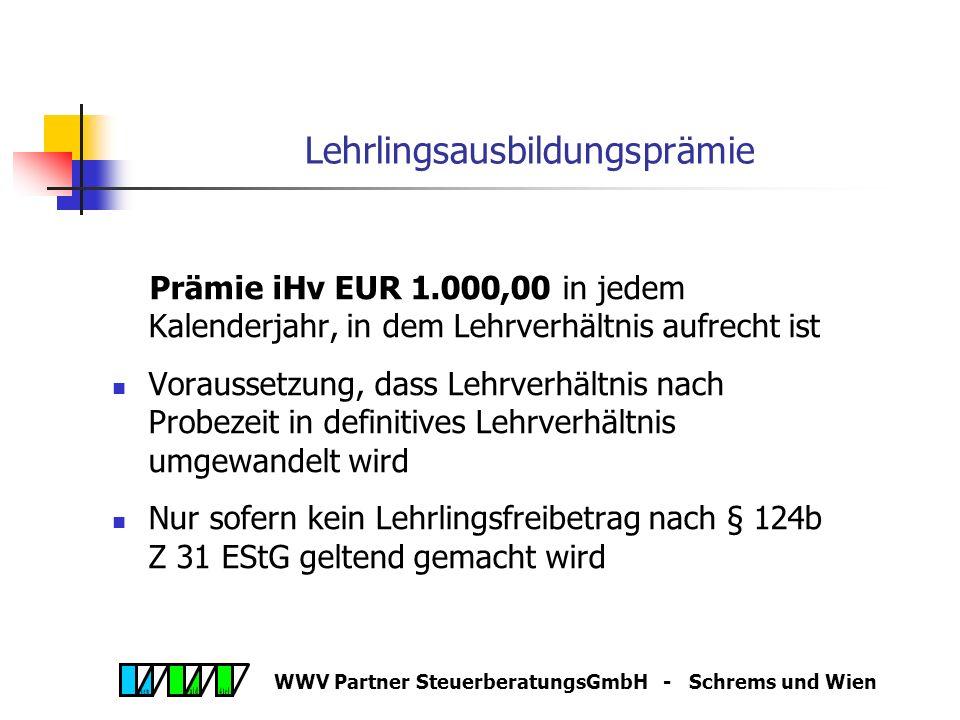 WWV Partner SteuerberatungsGmbH - Schrems und Wien Jahresabschluss 2005 Bildungsfreibetrag II (§ 4 Abs 4 Z 10 EStG) Basis: Aufwendungen für interne Au