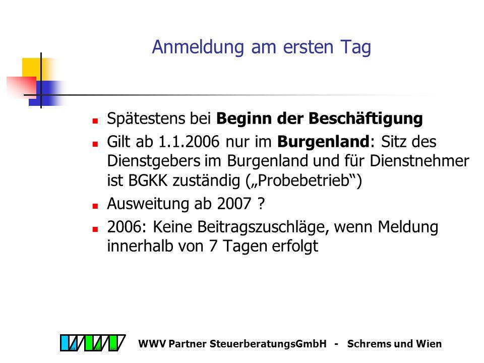 WWV Partner SteuerberatungsGmbH - Schrems und Wien Neuerungen in der Sozialversicherung