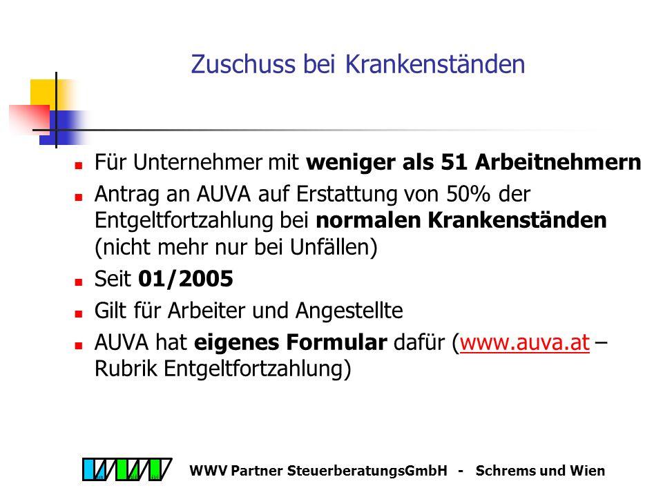 WWV Partner SteuerberatungsGmbH - Schrems und Wien Service-Entgelt für E-Card Stichtag 15.11.2005 Dienstgeber hat Service-Entgelt für beschäftigte Per